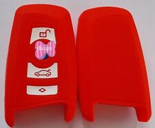 RED 3 BUTTON SILICONE CAR KEY COVER SUITS BMW NEW 3/5/7 SERIES X1 X3 X5 X6
