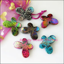 6Pcs Mixed Plastic Acrylic Animal Butterfly Spacer Beads Charms 21x29mm
