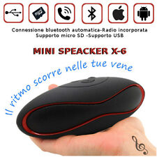 MINI SPEAKER BLUETOOTH FM SD LETTORE MP3 CASSA AMPLIFICATA USB VIVAVOCE RADIO