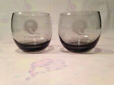 NFL NY JETS HELMET GLASSES Qty 2 Etched Smoked Glasses New York Jets (VINTAGE)