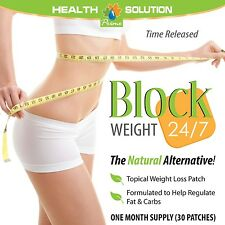 Weight Control Fat Burn Patches Block Weight 24/7 (1 Pack, 30 Patches)