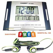 KADIO BIG DIGITAL ALARM CALENDAR THERMOMETER TABLE DESK WALL CLOCK TIMER NO-3809