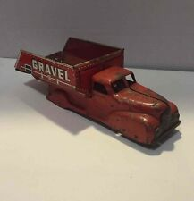 Mar Toys Pressed Steel Sand/Gravel Dump Truck Vtg Red Construction Vehicle Marx