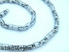 MEN'S CHUNKY LINK CHAIN BYZANTINE STAINLESS STEEL NECKLACE SILVER B2