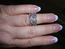 """Park Lane Jewelry, """"TRILOGY"""" Ring (Size-6 1/2) Crystals, Silvertone, New!!!"""