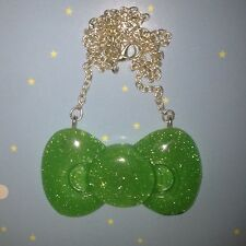 Large Green Glitter Hello Kitty Bow Necklace Kawaii Lolita Christmas Stocking