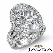 Halo Pre-Set Oval Diamond Vintage Fine Engagement Ring GIA F VS1 Platinum 3.65ct