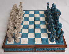 Vintage Mexican Chess Set Aztec Indians VS Spanish Conquistadors Stone/Wood