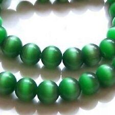 100 x 4 mm CAT'S EYE perles rondes-vert émeraude-a3714