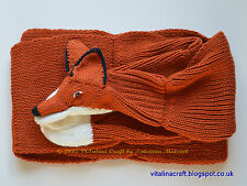 Hand Knitted Scarf - Red Foxy (Adult size)