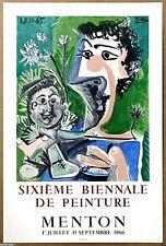 Picasso Sixieme Biennale De Peinture Rare Original Mourlot Stone Lithograph 1966