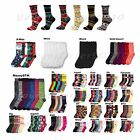 12 Pairs Men Women Girls Designer Crew Socks Multi Pattern Stripe  Argyle 9-11