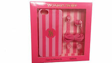 Victoria's Secret Pink Stripes VS Logo IPhone 5 5S Hard Case Cover / Pink Earbud