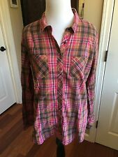 Guess Shades Of Pink & Brown Plaid Button Down Blouse Size Large *Perfect*