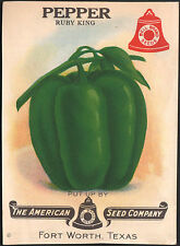 *Vintage* PEPPER Veg Seed Packet Front Only AMERICAN SEED 1930's TEXAS *RARE*