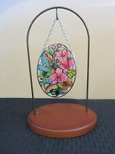 "Amia Stained Glass Suncatcher Small Oval Hummingbird Orchard 42379 4.25"" x 3.25"""