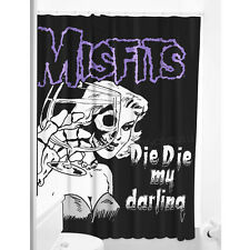 Misfits Die My Darling Shower Curtain Punk Gothic Rockabilly Pin Up Retro Skull