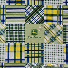 BonEful Fabric FQ Cotton Quilt Blue Green Yellow White John Deere Gingham Plaid