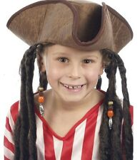 Childs Boys Pirate Fancy Dress Tricorn Hat With Dreadlock Hair H38 520