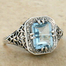 GENUINE BLUE TOPAZ ANTIQUE ART DECO STYLE 925 STERLING SILVER RING SZ 4.75, #675