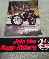 Rupp mini bike brochure and bumper sticker