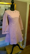 DANAYA S Pale Pink Silver 100% Leather Vintage Long Sleeve Lined Fit Flare Dress