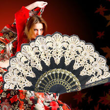 1×Black Vintage Spanish Style Lace Silk Folding Handheld Fan Wedding Dance Party