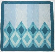 Luxury VALENTINO Geometric DIAMOND SHAPE Turquoise Blue Hand Rolled Silk Scarf