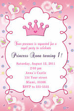 30 Princess Birthday Invitation With Butterflies And Pink Crown For Girl D1