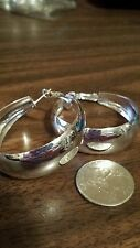New Bright Silver Medium size Hoop Earrings For pierced ears Ships Today