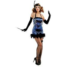 Lady ALL THAT JAZZ Costume BLUE Satin Dress Flapper Headpiece Adult XS Small 0 2