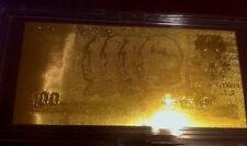 *24 KT GOLD CHINA 100 YUAN YIBAI  ZHONGGUO_ GOLDEN  BILL COMES IN ACRYLIC HOLDER