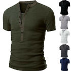 New Mens V Neck Short Sleeve Shirts Slim Fit T-Shirt Casual Muscle Tee Fashion