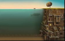 ABSTRACT - Stunning Man Fishing Sea Of Houses Landscape Canvas Pic 20x30Inch