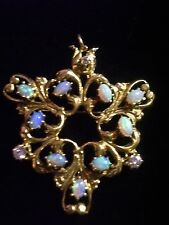 Vintage 18k gold opals diamonds stunning pendant brooch open work