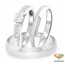 Diamond Trio Set His And Hers Engagement Bridal Ring Wedding Band 10K White Gold