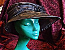 STIFF FINE NET HAT SHIMMERY LARGE ASYMETRIC OFF CENTRE BRIM BLACK GORGEOUS