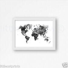 Black And White World Map Watercolour Painting PRINT A4 Wall Art Watercolor