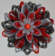 Handmade Girl's Satin Hair Clip/Bow, Kanzashi Style, Black&Red, HALLOWEEN