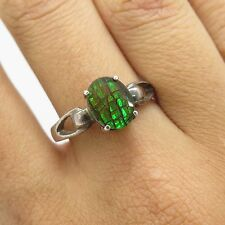 Vintage Solid Silver Oval Green Opal Gem Doublet Womens Solitaire Ring Size 7.5