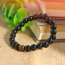 Fashion Men Women Black Onyx Agate&Tiger Eye Beads Bracelet Elastic Bangle Gift