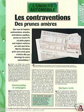 Contraventions /Retrait Points du Permis de Conduire Code Car Auto FICHE FRANCE