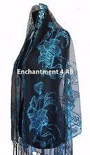 Elegant Oblong Lace Floral Art Scarf Wrap w/ Sequin Black/Blue