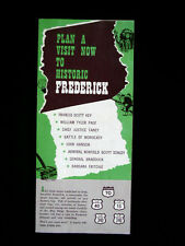 Vintage Frederick Maryland Tourist Brochure Booklet 3 page foldout - Md