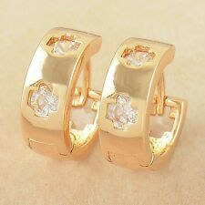 Fashion Yellow Gold Filled mystic cross CZ Womens Girls small Hoop Earrings lot