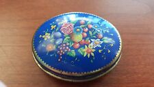 Chambers Candy Company Cinnamon Comfit Candy Tin Container Floral Blue Oval