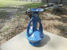 French Pottery Four 4 Handled Art Deco Style Nouveau Vase Blue Drip Glaze