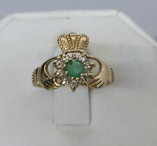 VINTAGE 14K GOLD CLADDAGH RING 9 DIAMONDS GREEN STONE HEART CROWN HANDS FNM 7