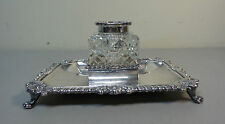 LOVELY 19th C. VICTORIAN PERIOD CRYSTAL INKWELL, SILVER PLATE TOP & INKSTAND