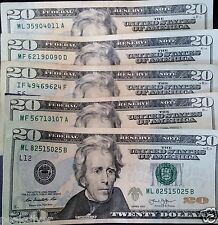 5 Lightly Circulated $20 Bills ($100 total) Paper Money Fastest Shipping!!